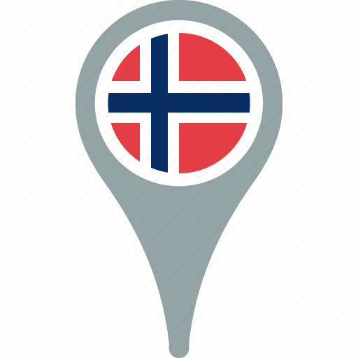 country, flag, location, map, norway, pin icon