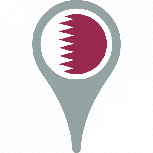 country, flag, map, pin, qatar icon