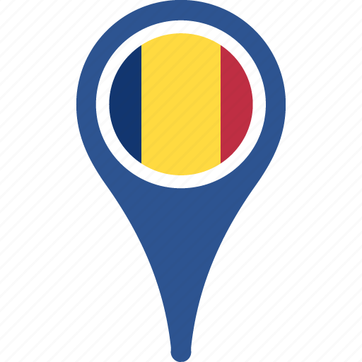 country, flag, location, map, pin, romania icon