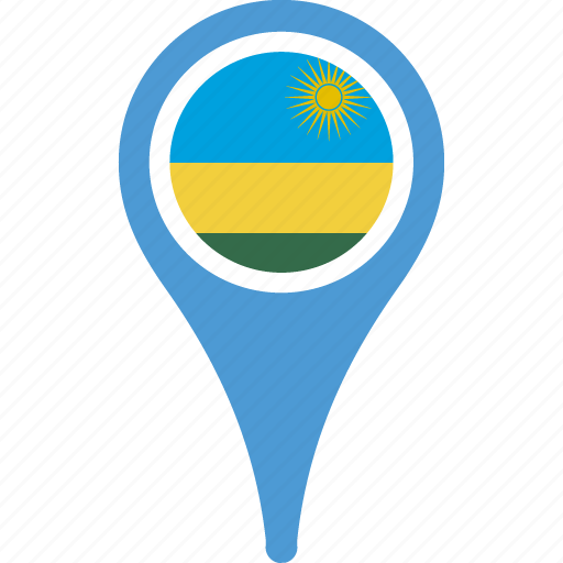 country, flag, map, pin, rwanda icon