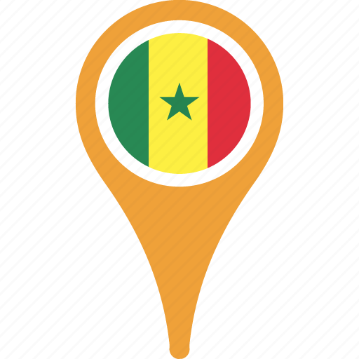 country, flag, map, pin, senegal icon