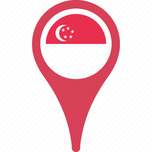 country, flag, map, pin, singapore icon