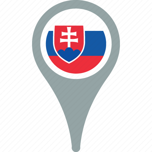 country, flag, map, pin, slovakia icon