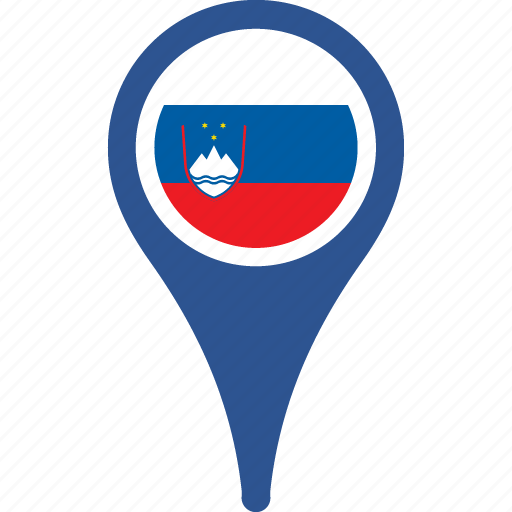 country, flag, map, pin, slovenia icon