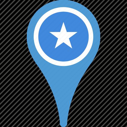 country, flag, map, pin, somalia icon