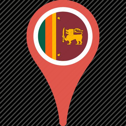 country, flag, lanka, map, pin, sri icon