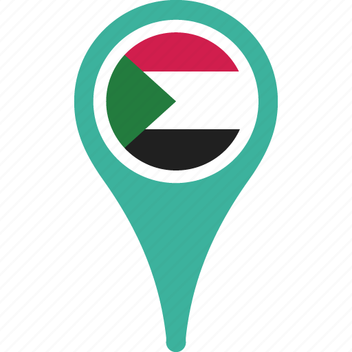 country, flag, national, pin, sudan icon