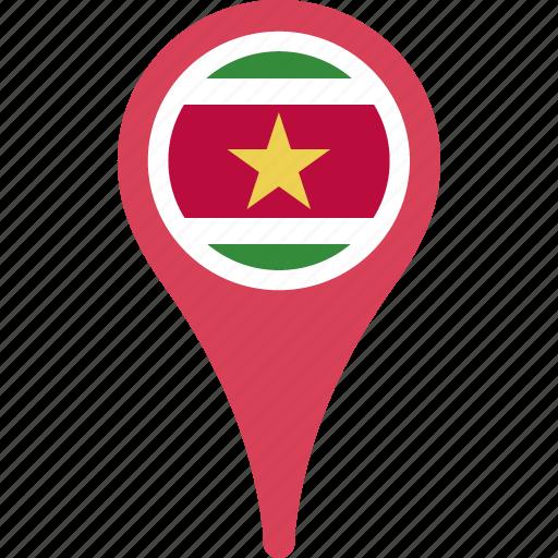 flag, suriname, suriname flag pin icon