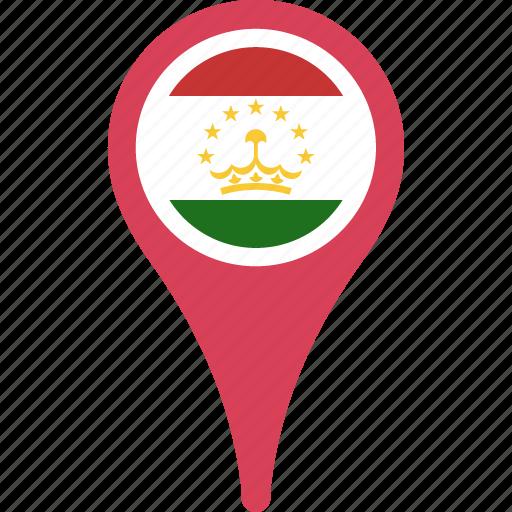 flag, flags, map, tajikistan, tajikistan flag pin icon