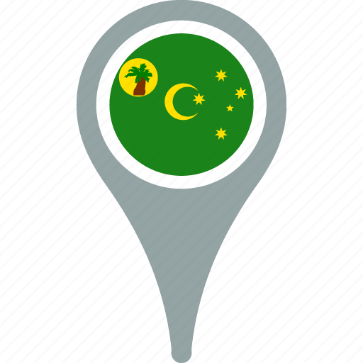 cocos, country, flag, flags, islands, pin, the icon