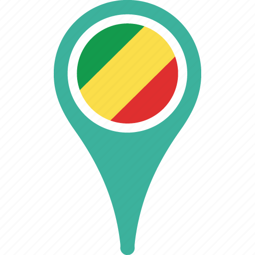 congo, country, flag, map, of, pin, republic, the icon