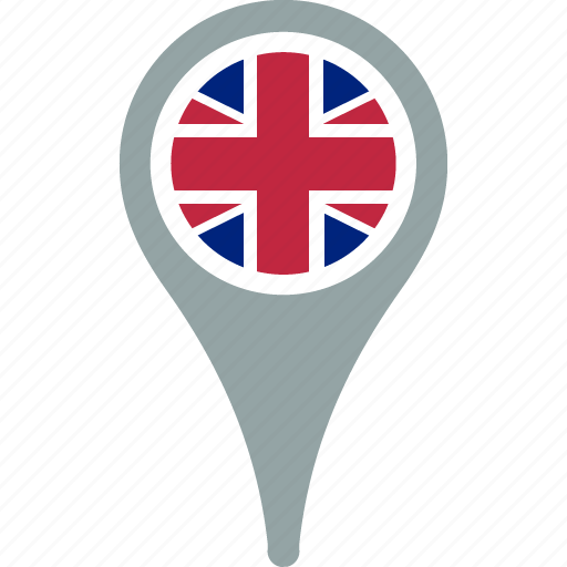 country, flag, kingdom, map, pin, the, united icon