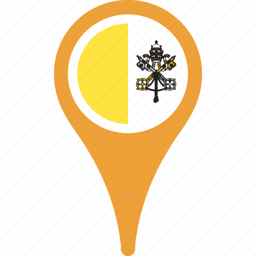 city, country, flag, map, pin, the, vatican icon