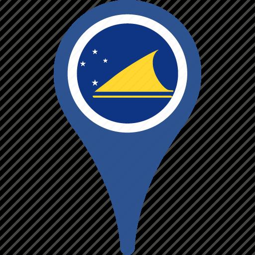 country, flag, map, pin, tokelau icon