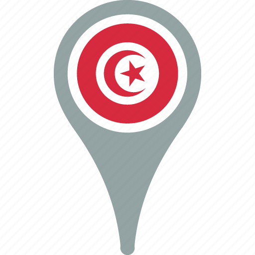 country, flag, map, pin, tunisia icon