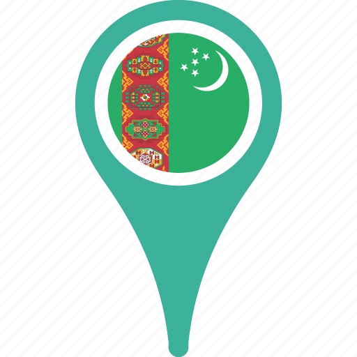 country, flag, map, pin, turkmenistan icon