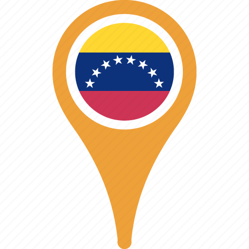 country, flag, map, pin, venezuela icon
