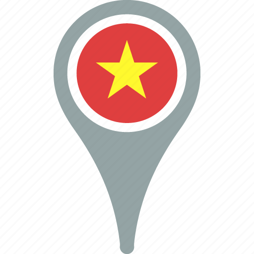 country, flag, map, pin, vietnam icon