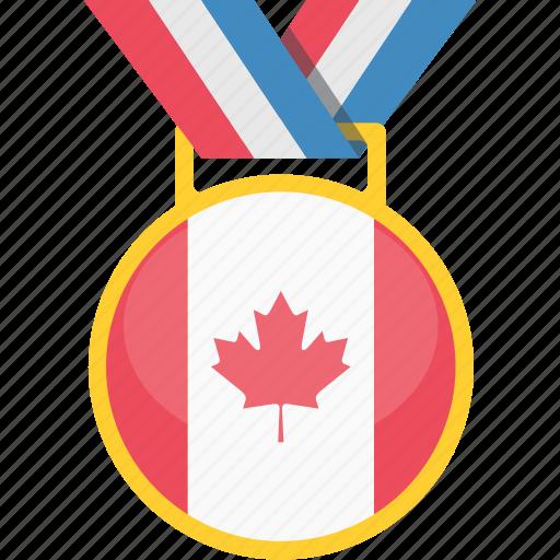achievement, canada, flag, national, winner icon