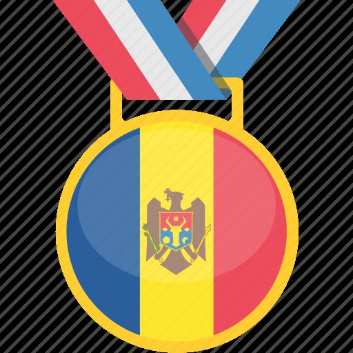 badge, medal, moldova, winner icon