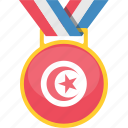 achievement, award, medal, tunisia icon