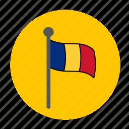 country, europe, flag, romania icon