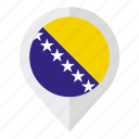 bosnia, bosnia and herzegovina, country, flag, geolocation, herzegovina, map marker icon