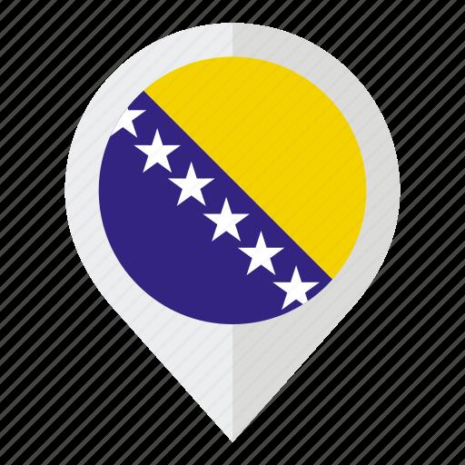 bosnia, bosnia and herzegovina, country, flag, geolocation, herzegovina, map marker icon