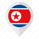 country, flag, geolocation, map marker, north korea, north korea flag icon