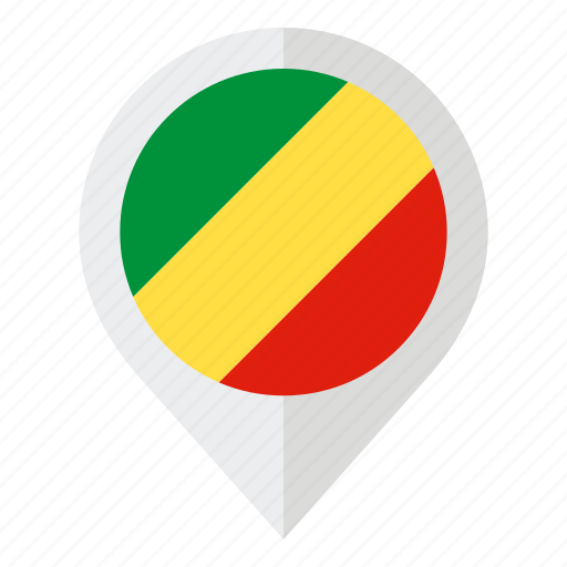 congo flag, country, flag, geolocation, map marker, republic of congo icon