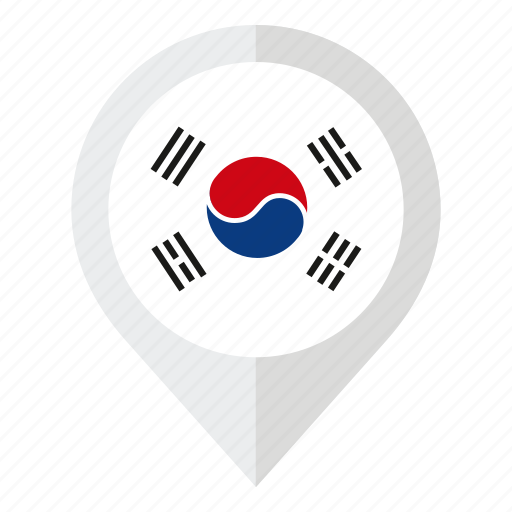 asia, country, flag, geolocation, map marker, south korea, south korea flag icon