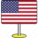country, flags, sign, states, travel, united, usa icon