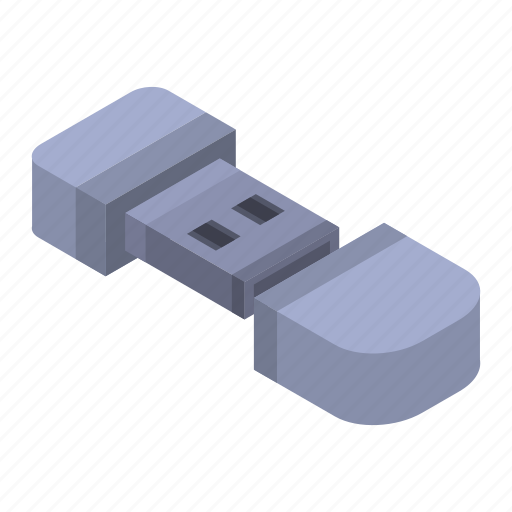 Cartoon, computer, connection, flash, isometric, micro, usb icon - Download on Iconfinder