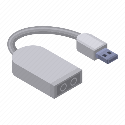 Audio, cable, cartoon, charger, isometric, jack, usb icon - Download on Iconfinder