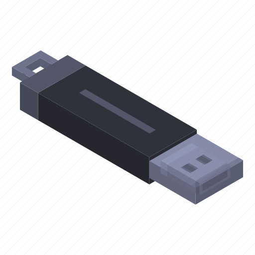 Card, cartoon, computer, drive, flash, isometric, usb icon - Download on Iconfinder