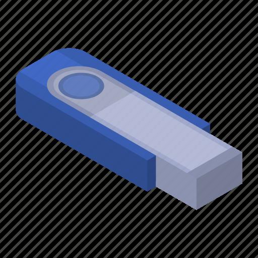 Blue, cartoon, flash, isometric, metal, stick, usb icon - Download on Iconfinder