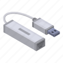 cable, cartoon, cord, isometric, lan, port, usb icon