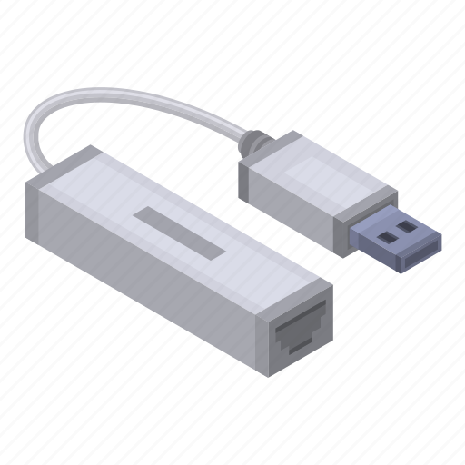 Cable, cartoon, cord, isometric, lan, port, usb icon - Download on Iconfinder