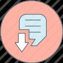 arrow, document, down, format