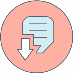 arrow, document, down, format icon