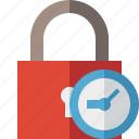 access, clock, lock, password, protection, secure icon