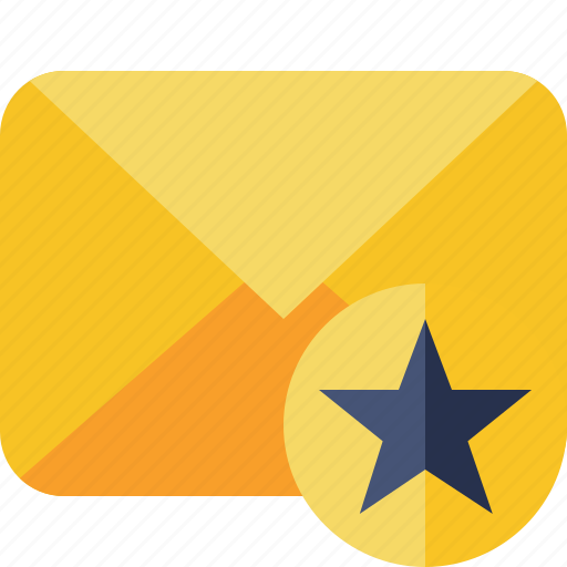 communication, email, letter, mail, message, star icon