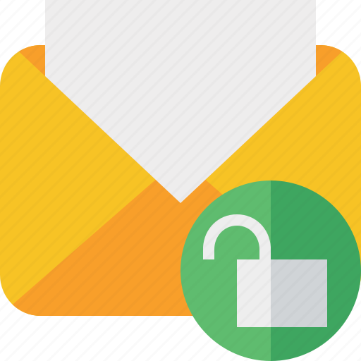 communication, email, letter, mail, message, read, unlock icon
