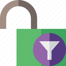 access, filter, password, protection, secure, unlock icon