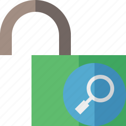 access, password, protection, search, secure, unlock icon