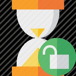 alarm, clock, timer, unlock, wait, watch icon
