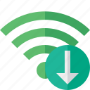 connection, download, fi, green, internet, wi, wireless icon