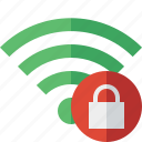 connection, fi, green, internet, lock, wi, wireless icon
