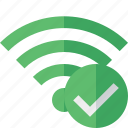 connection, fi, green, internet, ok, wi, wireless icon