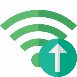 connection, fi, green, internet, upload, wi, wireless icon